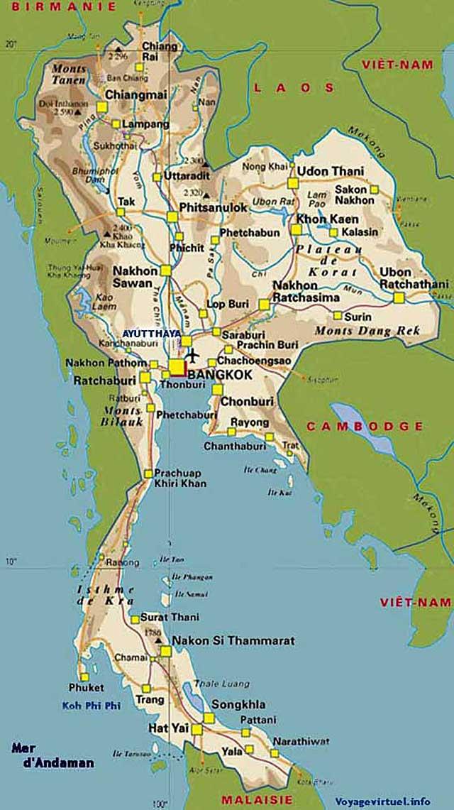 Ayutthaya Carte Thailande.Karte Von Thailand